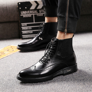 Image 3 - mens casual breathable cow leather boots black ankle boot chelsea booties carving bullock shoes gentlemen brogue shoe zapatos