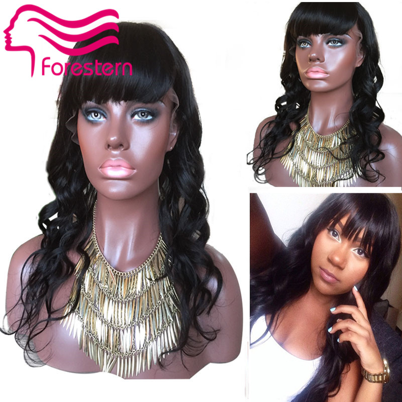 2015 7A Unprocessed Virgin Front Lace Wig Glueless Body Wave With Blunt Bangs Peruvian Full Lace