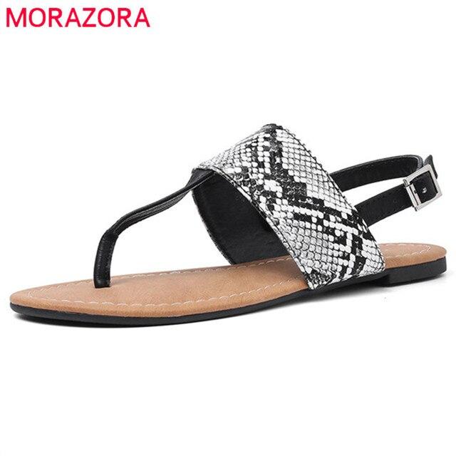 MORAZORA 2019 büyük boy 36-50 kadın sandalet yılan baskı flip flop bayanlar yaz plaj ayakkabısı moda rahat düz ayakkabı kadın