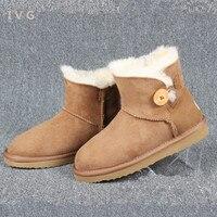 New 2017 Women S Winter Boots Australia Classic Mini Bailey Button Sheepskin Snow Boots Warm Ugs