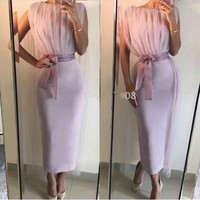 Simple Mother Of The Bride Dresses High Neck Satin Pleats Tea Length Women Party Dress
