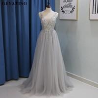 Sliver Gray Open Back Prom Dresses Over Skirt Side Split Deep V Neck Crystal Beaded Party Dress 2018 Sequins Long Evening Gowns