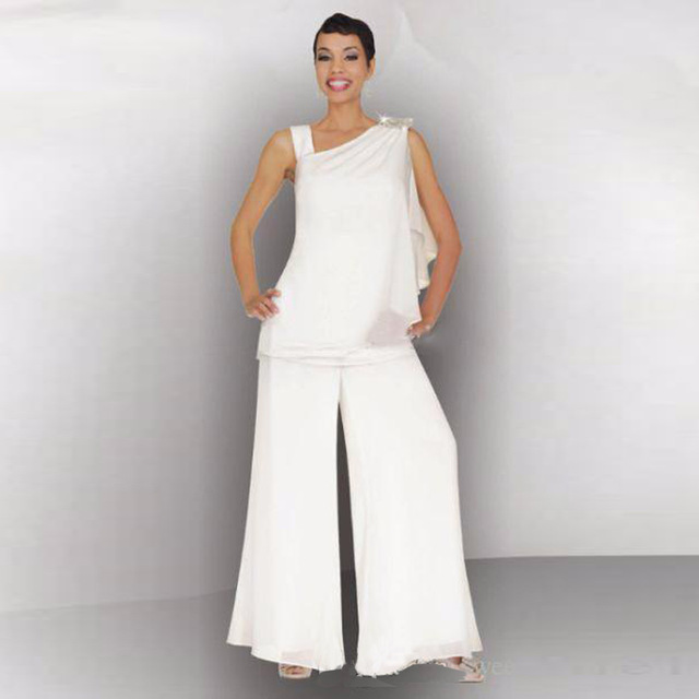 Mother Of The Bride Groom Pant Suit Ruched Crystal Plus Size White