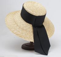 3pcs Brand NEW Women Summer Beach Boater Hats Big Black Ribbon Handmade Wheat Straw Hat Wide