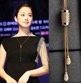 Роуз кристалл кисточкой длинные простой ожерелье женщин ювелирные изделия 2016 новый корейский роскошный элегантный кольер сотуар длинных / colar лонго