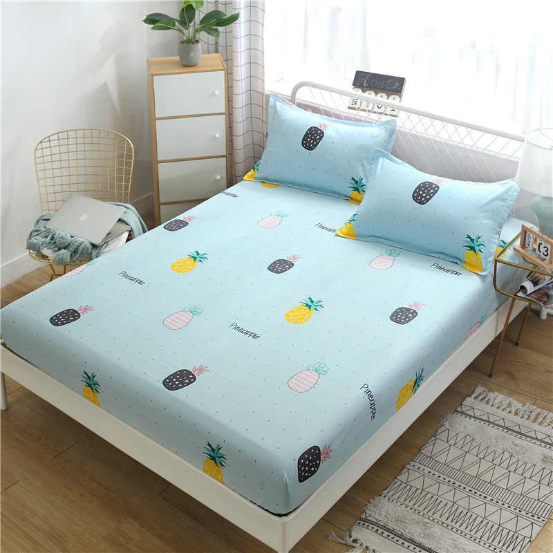 Printed pattern cover sheet pillowcase three-piece mattress cover slip-proof bed sheet pillowcase small extra large