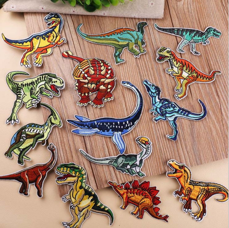 Embroidered Dinosaur Iron On Sew Patch Animal Jacket Jeans Kids Hat Tshirt Badge