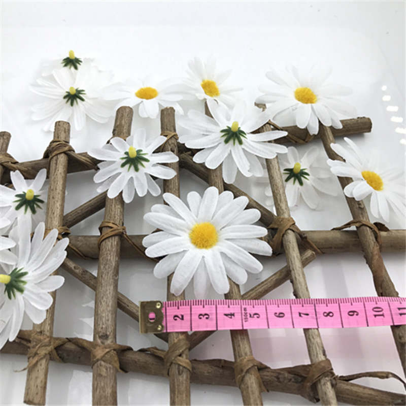 24PCS shop shop props jewelry accessories 6 4 5cm DIY simulation of solid color chrysanthemum flower blossom polygonal daisy in Artificial Dried Flowers from Home Garden