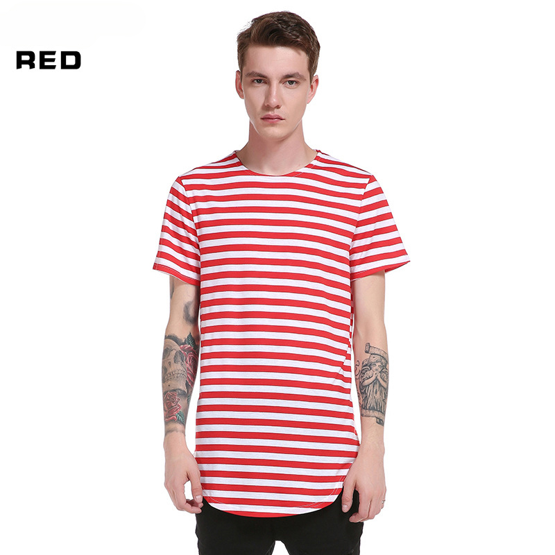 435a8d8000f US $12.99 |2019 Striped T shirt Fashion Brand Summer LONG Oversize extend t  shirts Men Hiphop Short Sleeve Longline Casual Tee shirts-in T-Shirts from  ...