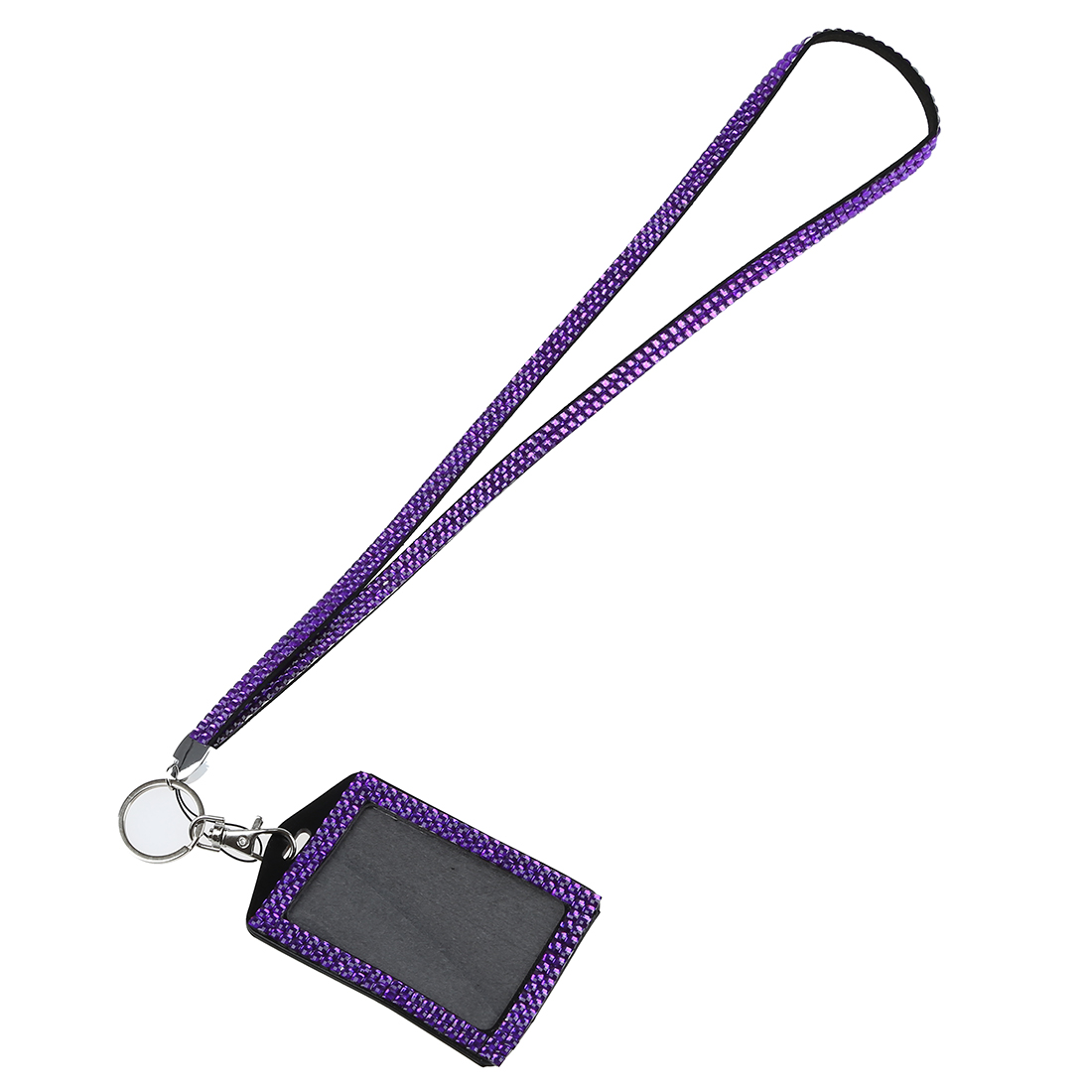 Affordable Rhinestone Bling Crystal Custom Lanyard Vertical ID Badge Holder (Purple)