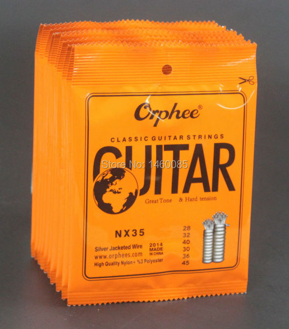 10 Sets Orphee NX35 Clear Nylon Silver Plated Classical Guitar Strings Hard Tension (.028 .032 .040 .030 .036 .045)