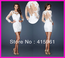2013 White Long Sleeves Lace Sheath Cocktail Dress Short Prom Dresses E2491