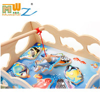 MWZ Magnetic Fishing Toy Kids Educational Puzzle 3 Style Wooden Outdoor Sports Toys For Children Parent