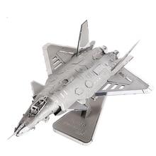 2016 новый J-20 реактивный бомбардировщик самолета масштабные модели 3D DIY металл модель для взрослых / детские игрушки J-20 истребитель металлик Nano головоломки