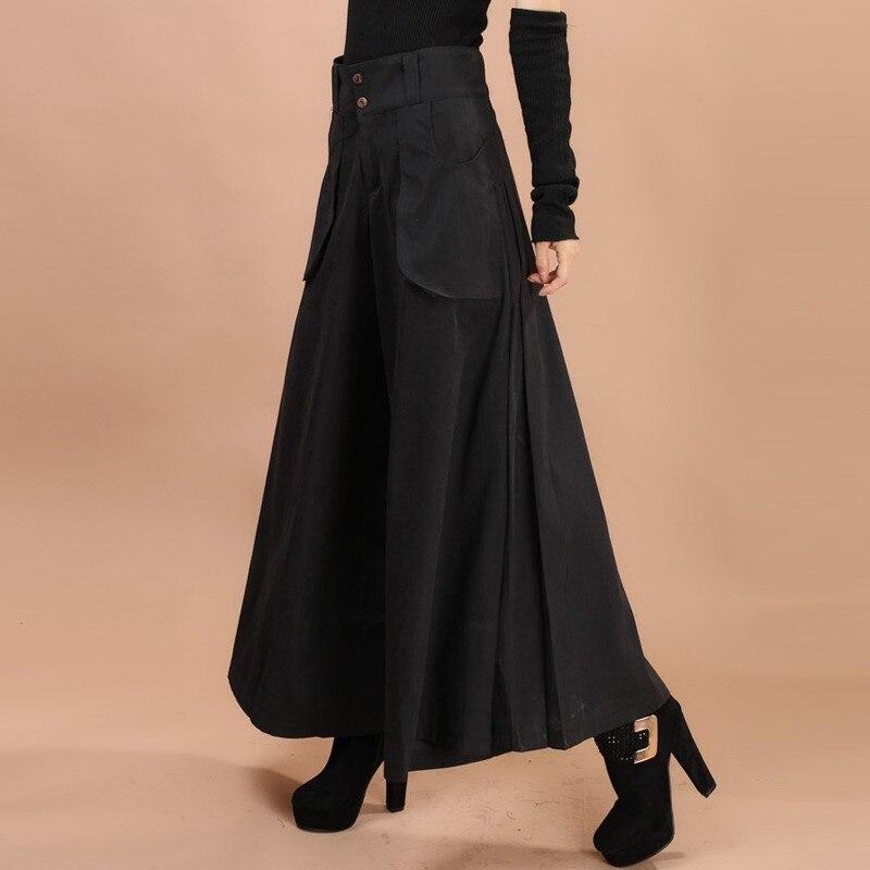 Women Vintage Solid Color High Waist Loose   Wide     Leg     Pants   Pockets Casual Trousers 2019 Pantalon Femme