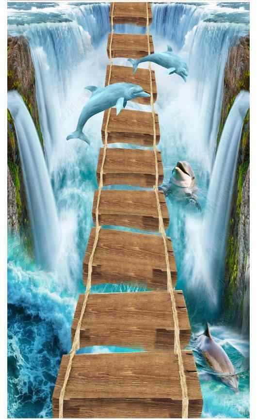 3D خلفيات مخصص 3d الأرضيات جدار ملصقا شلال الدلافين خشب فريد جسر 3D اللوحة الذاتي لاصق للماء الطابق