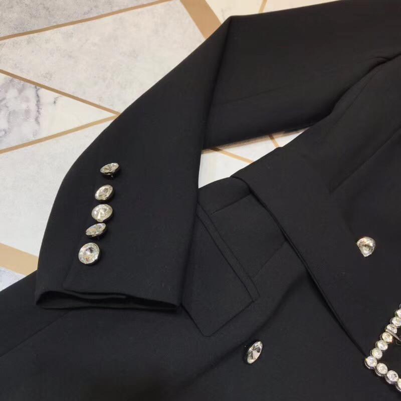 Automne Noir V Breasted Col Vestes Longues De Manteau Veste À Taille Haute Hiver Femmes Double 2019 Pour Manches Mode rnwrF7q8R