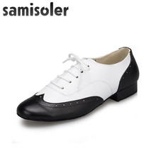 Samisoler Black W Mens leather ballroom dance shoes Flats Modern Tango Party Wedding Square