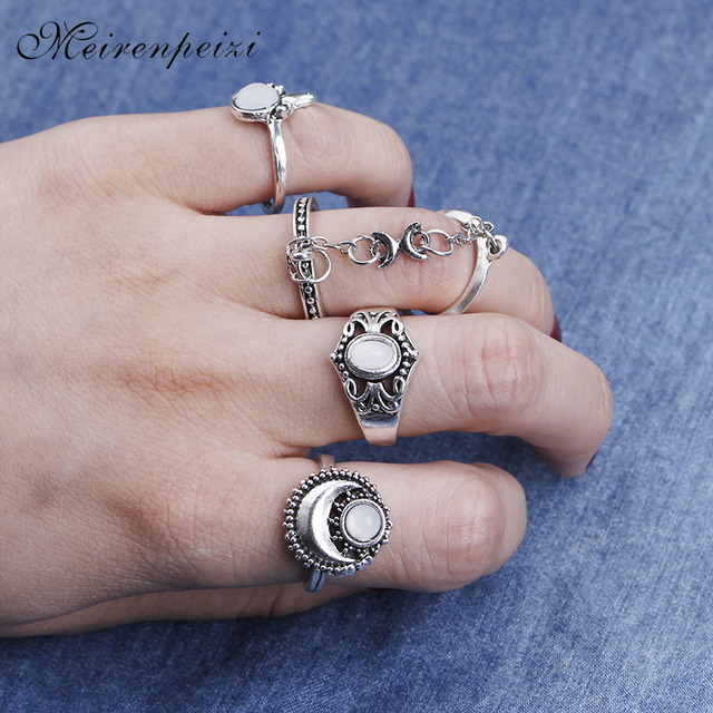 627e2bd78645ad vintage Knuckle Tibetan rings set sun and moon rings women Knuckle chain ring  5 pcs/