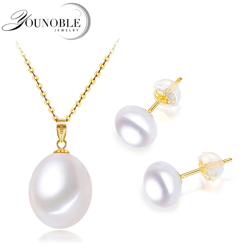 Wedding 18k gold jewelry earrings sets women gold earring pendant 925 silver necklace chain freshwater pearl