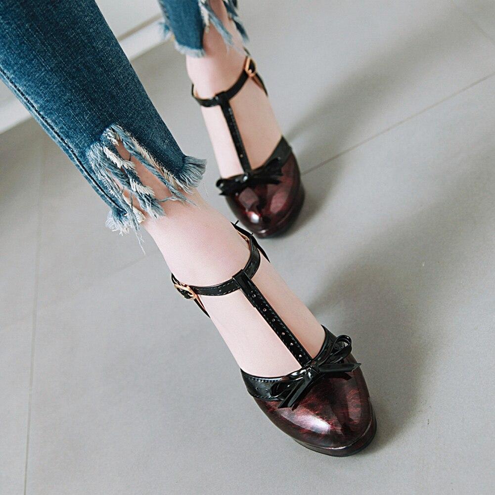 Sarairis High Heels Pumps Woman Shoes Women T-strap Bow Lovely Sweet Platform Lolita Heeled Shoes Woman Plus Size 48