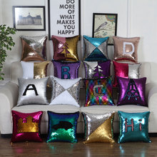 DIY Mermaid Sequins Cushion Cover Magical Throw Pillowcase Car Home Sofa Decoration Two Color Changing Reversible