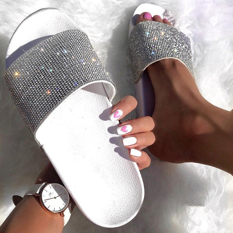 Rhinestone Women Slippers Flip Flops Summer Slides Women Shoes Crystal Diamond Bling Beach Slides Sandals Casual Shoes Slip On
