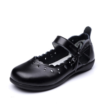 2019New Baby Girl Leather Shoes Kids for cowhide Dance Party Student Black leather Dress 3 4 5 6 7 8 9-15T