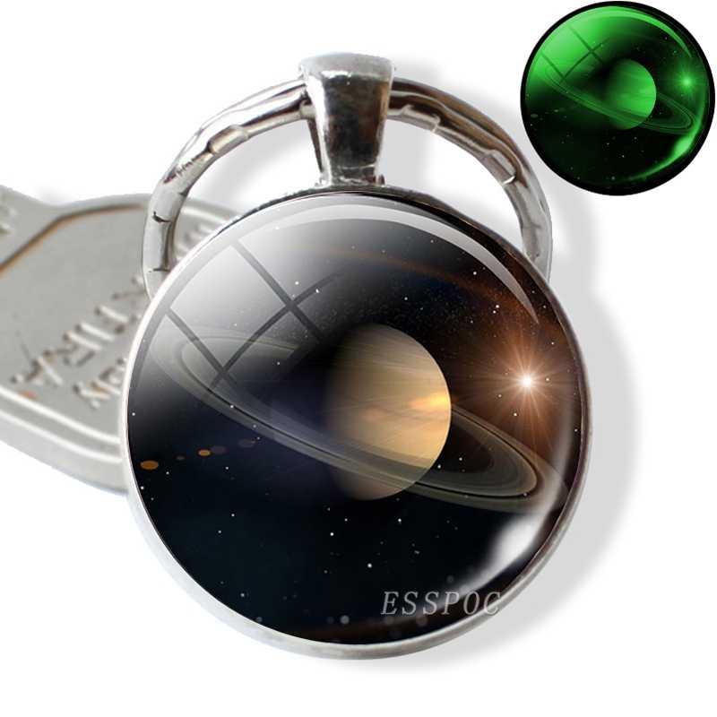 Northern Lights พวงกุญแจ Luminous Key CHAIN จี้โลหะ Keyring จักรวาล Planet พวงกุญแจดาราศาสตร์ Lover ของขวัญ