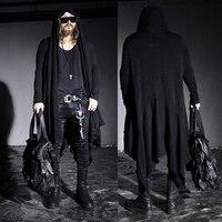 החדש Mens אופנה Mod אוונגרד אופנתי פאנק הוד ארוך שחור כהה MENS לסרוג קייפ קרדיגן בגדי מעיל