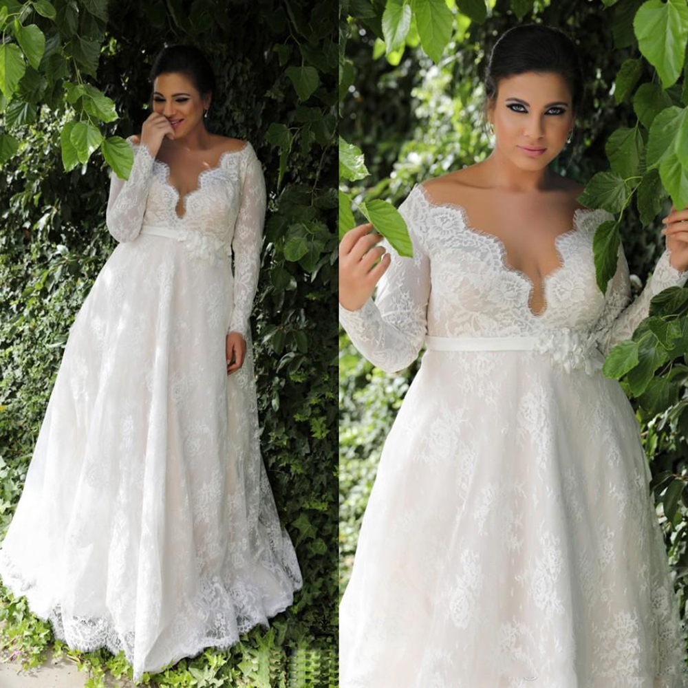 Plus size Lace Wedding Dress Long sleeves Bridal Gown A line Buttons Elegant belt with flowers