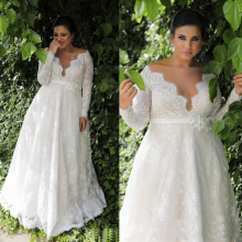 Plus size Lace Wedding Dress Long-sleeves Bridal Gown A-line Buttons Elegant belt with flowers plus size sheath dress with long sleeves