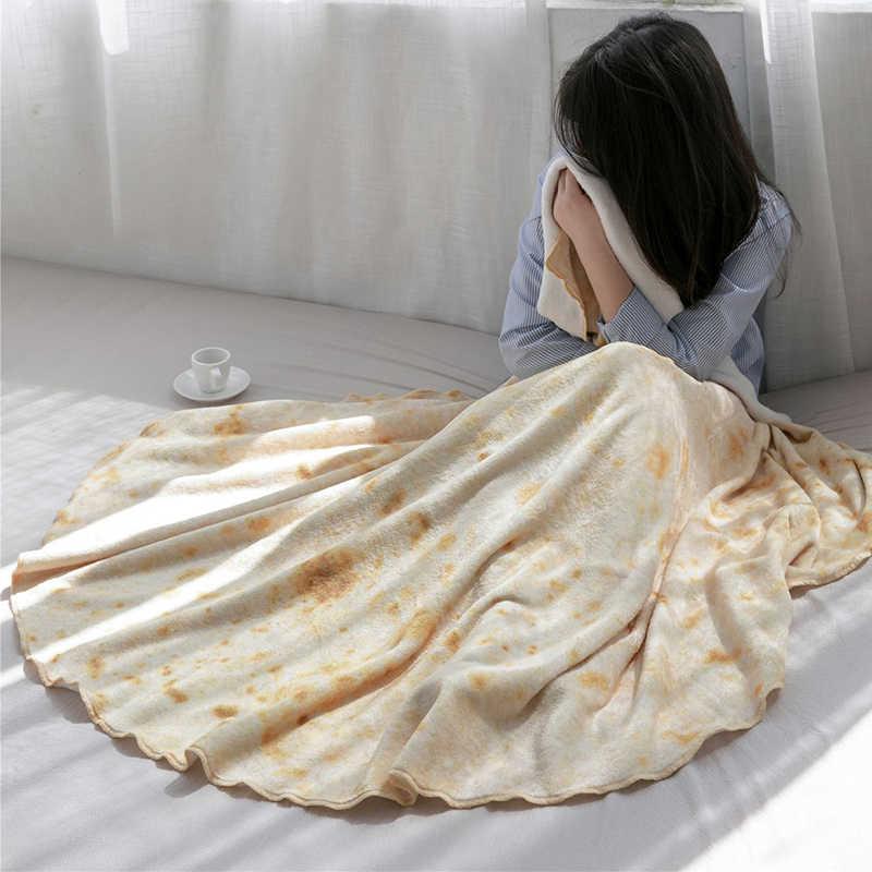 Super doux chaud flanelle Burrito couvertures 280Gsm forme ronde avion voyage jet corail polaire Tortilla sieste couverture enveloppantes