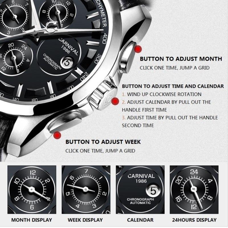 Модные механические часы для мужчин, роскошный бренд, карнавал, многофункциональные автоматические часы для мужчин, самовзводные, календарь, кожаный ремешок, светящийся - 6