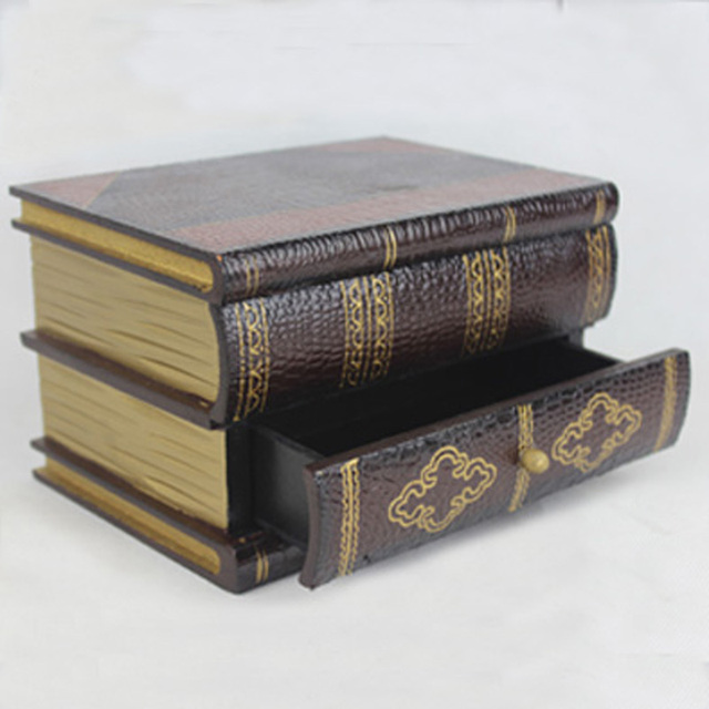 Home Antique Wooden Book Decorative Storage Boxin Storage Boxes Custom Decorative Photo Storage Boxes