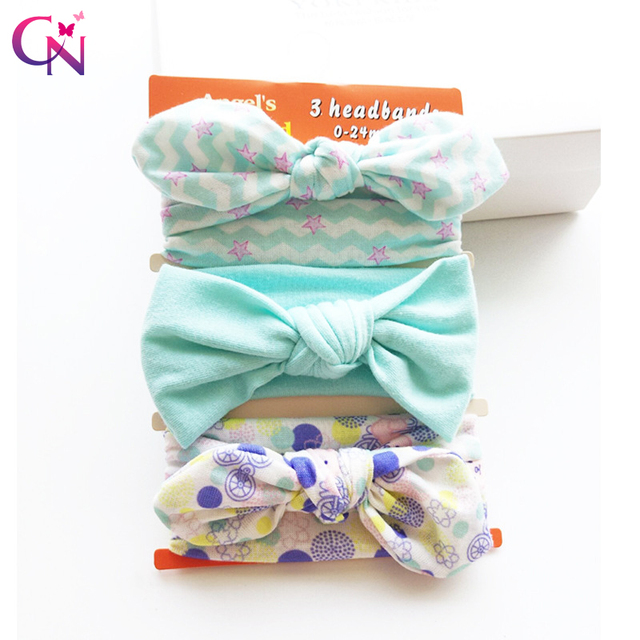 73e199eea13e2 3 Pieces Set Rabbit Ear Headbands For Kids Girls Boutique Fabric Knot Bows  Stretch Hairbands Turban Headwraps Hair Accessories