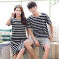 2017 summer new type of pure cotton couple pajamas simple striped big code home clothes couple pajamas