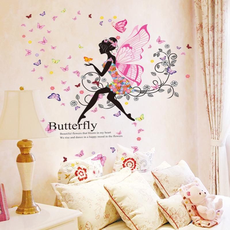 [SHIJUEHEZI] विंग गर्ल वॉल स्टिकर विनील DIY फूल परियों बच्चों के कमरे के लिए Papillon दीवार Decals बालवाड़ी घर की सजावट
