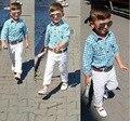 2016 Мода Осень Детская Одежда Мода Мальчиков Одежда набор 2 шт. дети Костюмы рубашка + брюки Для Возраста 3 4 5 6 7 лет