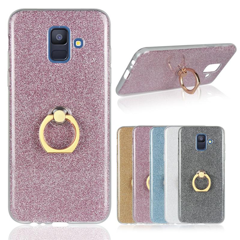 sFor Cover Samsung Galaxy A6 2018 Case Soft Fashion Bling Glitter Ring Holder TPU Shell Phone Case For Samsung Galaxy A6 Fundas