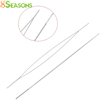 8SEASONS 5PCs Big Eye Curved Beading Needles Threading String Cord Easy Jewelry Making Tools Dull Silver Color 5.7cm (B31559)