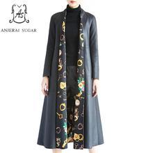 Spring autumn Frosted sheepskin genuine leather jacket women Black V-Neck clothing female long windbreaker real leather coat