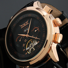 Jaragar mannen tourbillon wrap analoge auto mechanische horloge datum week display relogio masculino