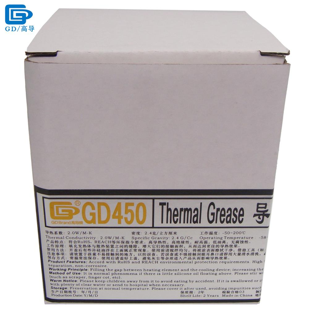 GD Brand Heat Sink Compound GD450 Thermal Conductive Grease Paste Silicone Plaster Net Weight 1000 Grams Golden For LED CN1000 gd brand heat sink compound gd900 thermal conductive grease paste silicone plaster net weight 150 grams high performance br150