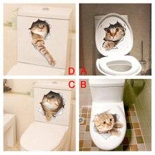 Милый котенок Туалет Наклейки на стены 3D отверстие кошка Животные росписи Книги по искусству Домашний Декор холодильник Плакаты