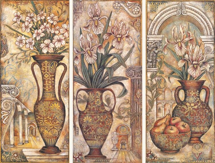 Vintage Vase 3 Panels Classic Europe Style Unframed Cotton