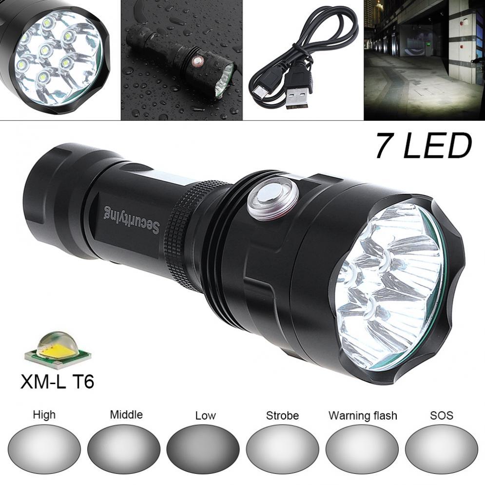 Chaude SecurityIng Super Bright 7x XM-L T6 LED 3800 Lumens lampe de Poche Étanche Torche avec 6 Modes D'éclairage Support USB de charge