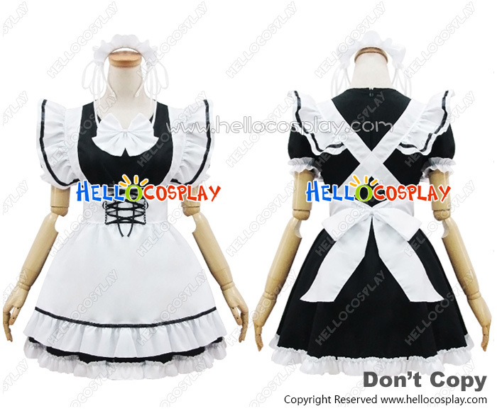 Angel Feather  COS Black White Maid Dress Cosplay costume H008