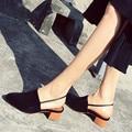 Sexy Apontado Toe Slingbacks Sapatos de Salto Mulheres Verão Primavera Mulheres Sapatos de Salto Grosso Confortável