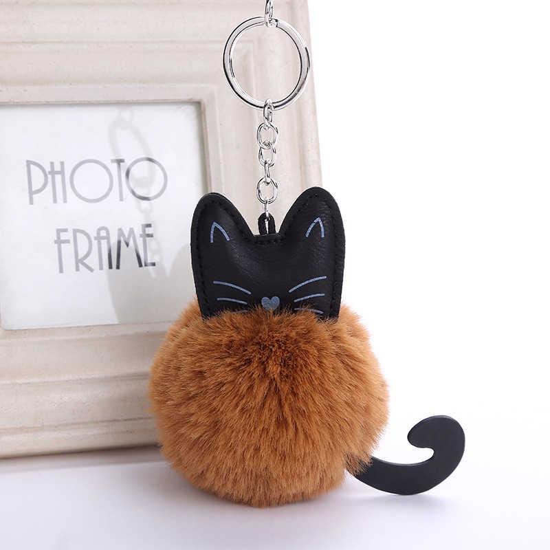 Bonito Fluffy Faux Fur Coelho De Pelúcia Chaveiro de Couro PU Gato Animal Plush Chaveiro de Metal Chaveiro Charme Saco De Pele Pom Pom pingente